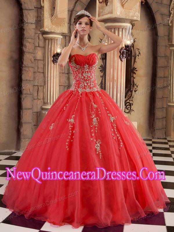 Red Ball Gown Floor-length Organza 2014 Quinceanera Dress with Beading