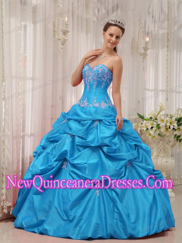 A Baby Blue Ball Gown Sweetheart With Appliques Cheap Quinceanera ...