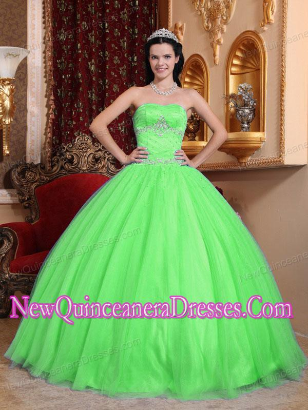 Green Ball Gown With Sweetheart Tulle and Taffeta Beading Cheap ...