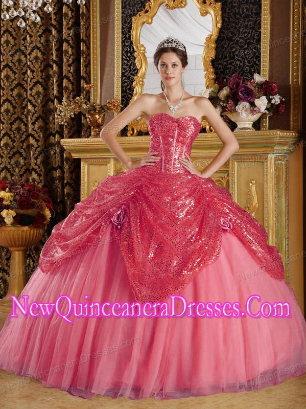 Ball Gown Sweetheart Sequined and Tulle Handle Flowers Elegant ...