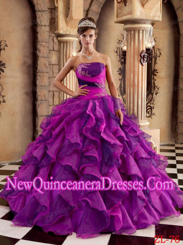 2014 Multi-color Ball Gown Strapless Organza Ruffles Popular ...