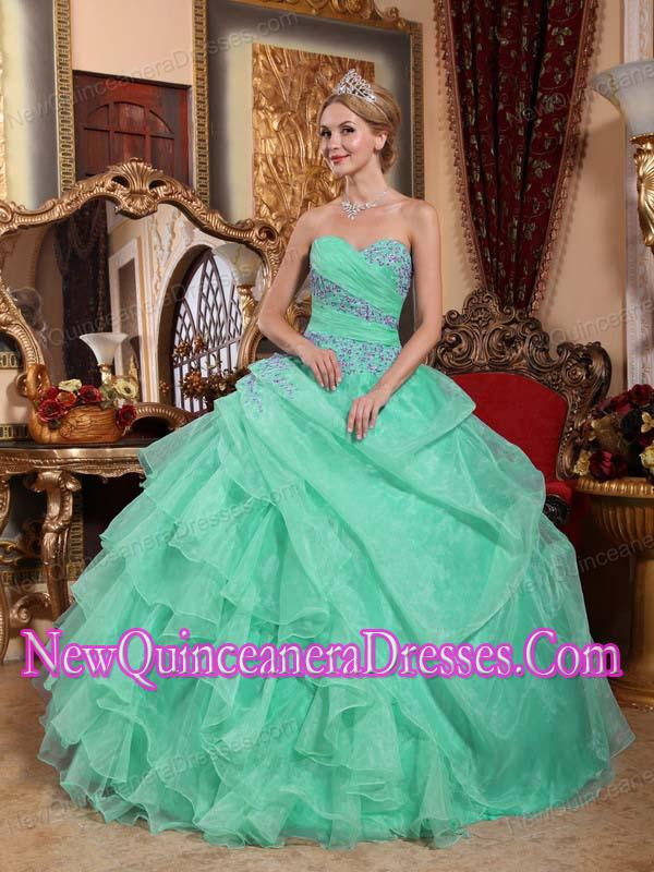 Apple Green Ball Gown Sweetheart Organza Appliques and Ruched ...
