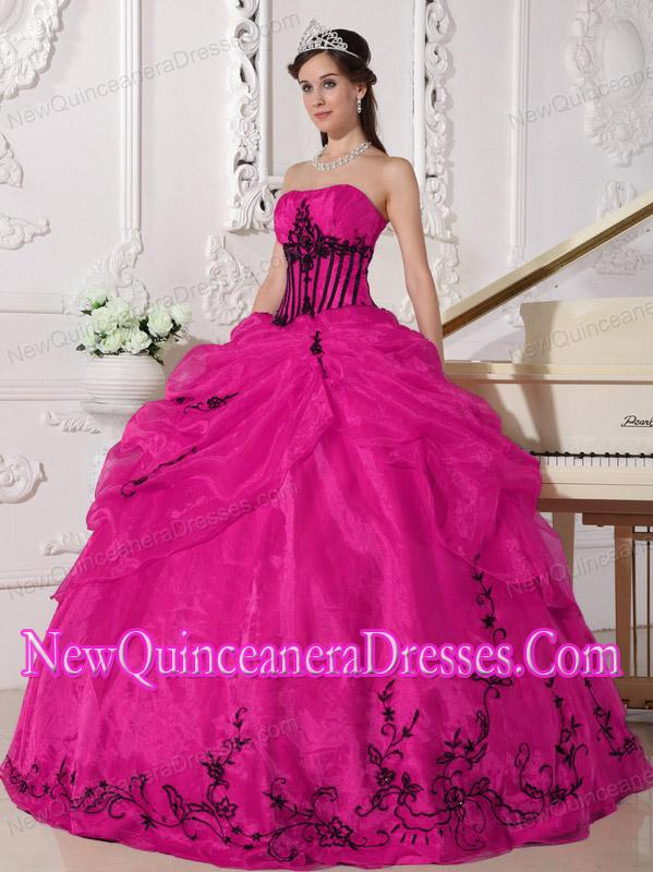 Plus Size Coral Red and Black Ball Gown Strapless Floor-length ...