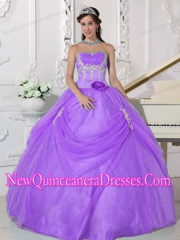 Plus Size Lilac Ball Gown Strapless Floor-length Taffeta and ...