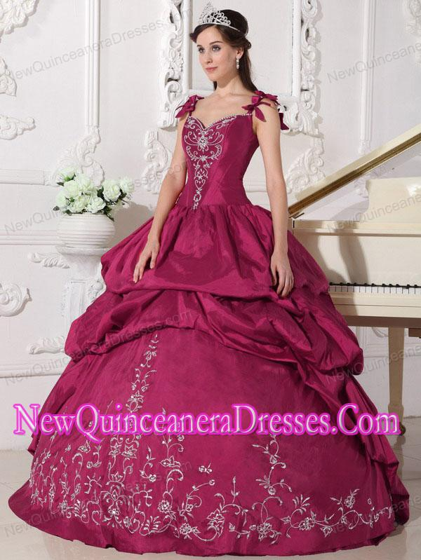 Plus Size Red Ball Gown Straps Floor-length Taffeta with Embroidery ...