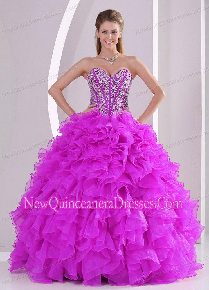 Pretty Ball Gown Sweetheart Ruffles and Beaded Decorate Sweet 15 ...