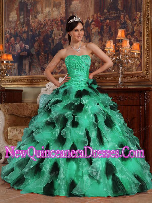 Strapless Green and Black Ball Gown Organza Puffy Quinceanera ...