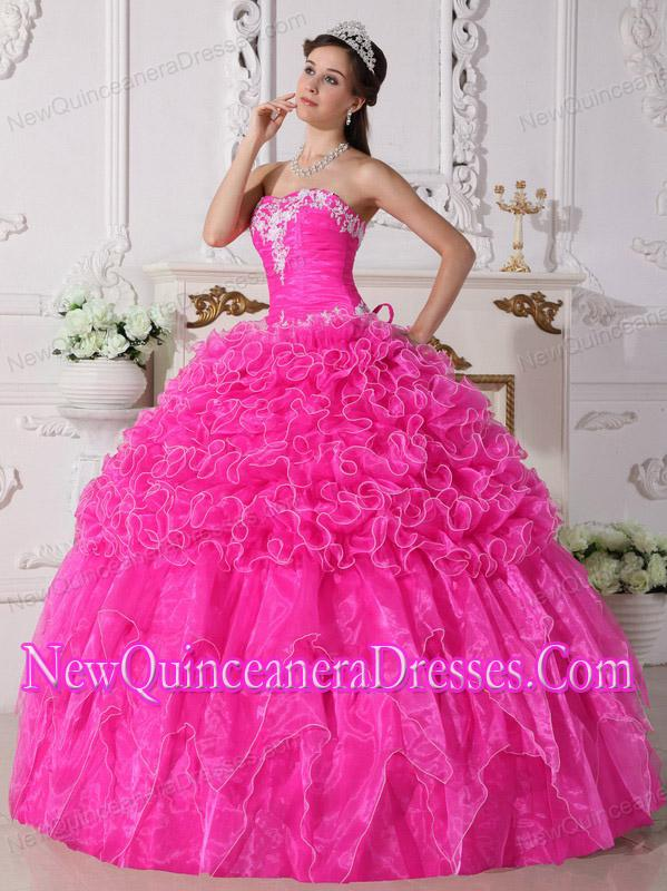 Strapless Organza Embroidery with Beading Puffy Quinceanera Dress ...