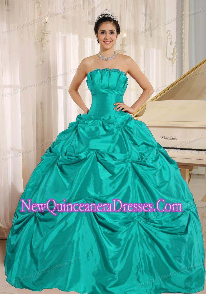 Turquoise Ball Gown Exquisive Sweet 16 Dresses With Pick-ups For ...
