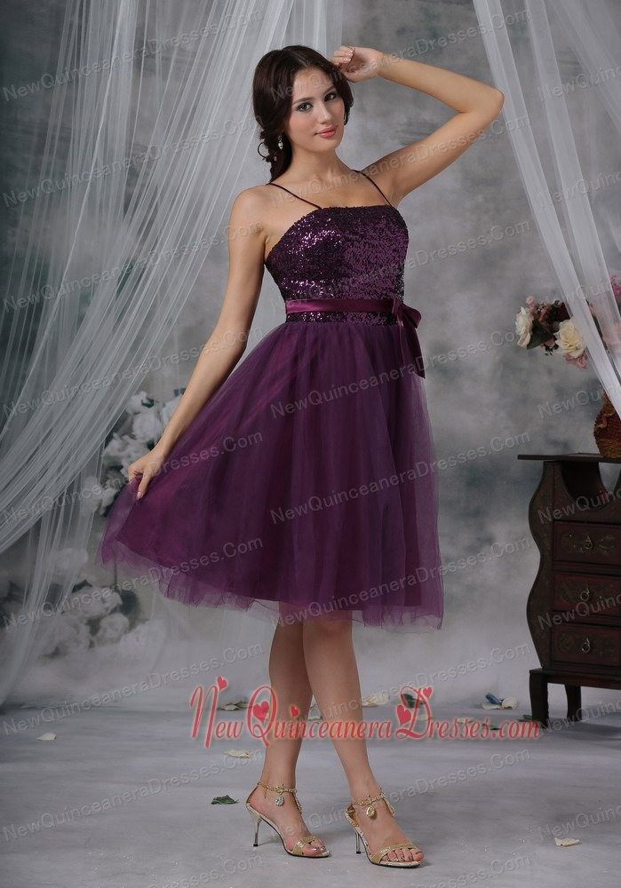 Purple Empire Strapless Knee-length Taffeta Ruch Dama Dresses for ...