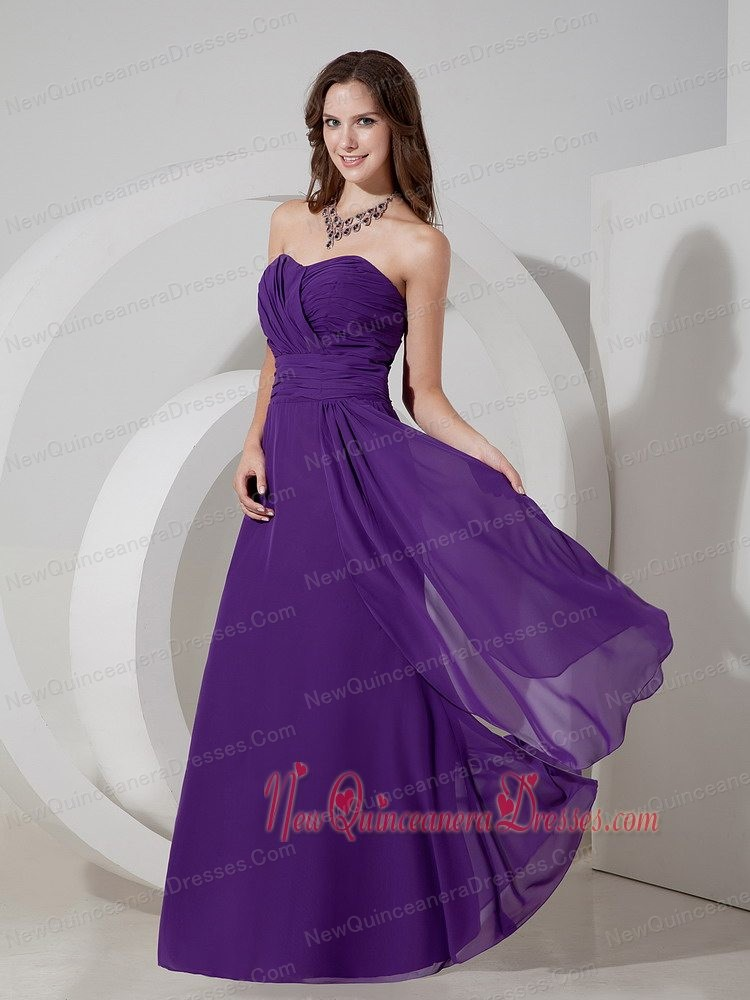 Purple Empire Sweetheart Floor-length Chiffon Ruch Dama Dress