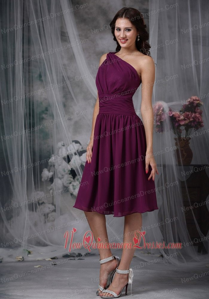 Unique One Shoulder Knee Length Dress