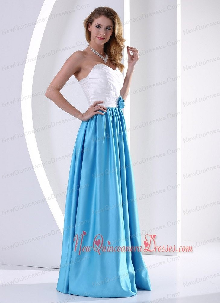 White and Aqua Blue Sweetheart Hand Made Flower and Ruch Quinceanera Dama Dresses 2013 Taffeta
