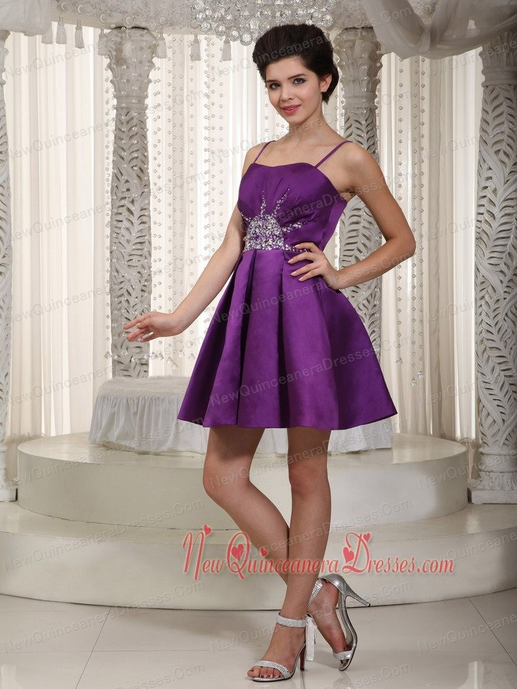 Eggplant Purple A-line / Pricess Straps Mini-length Satin Beading ...