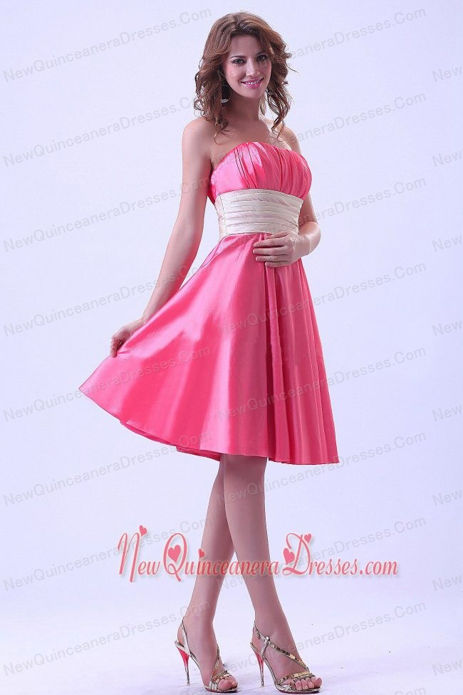 Hot Pink Dama Dress With Ruching Knee-length Taffeta For Custom ...