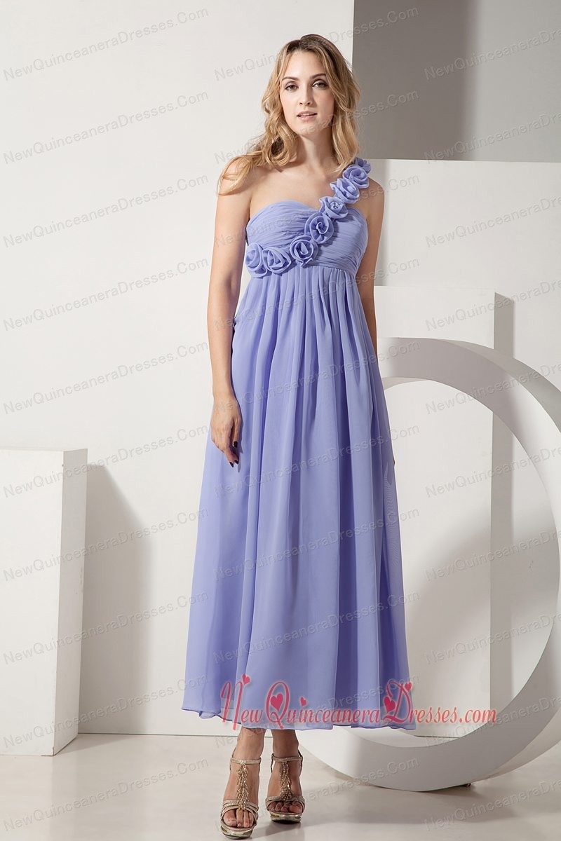 Lilac A-line One Shoulder Ankle-length Chiffon Hand Made Flowers Dama Dresses for Quinceanera