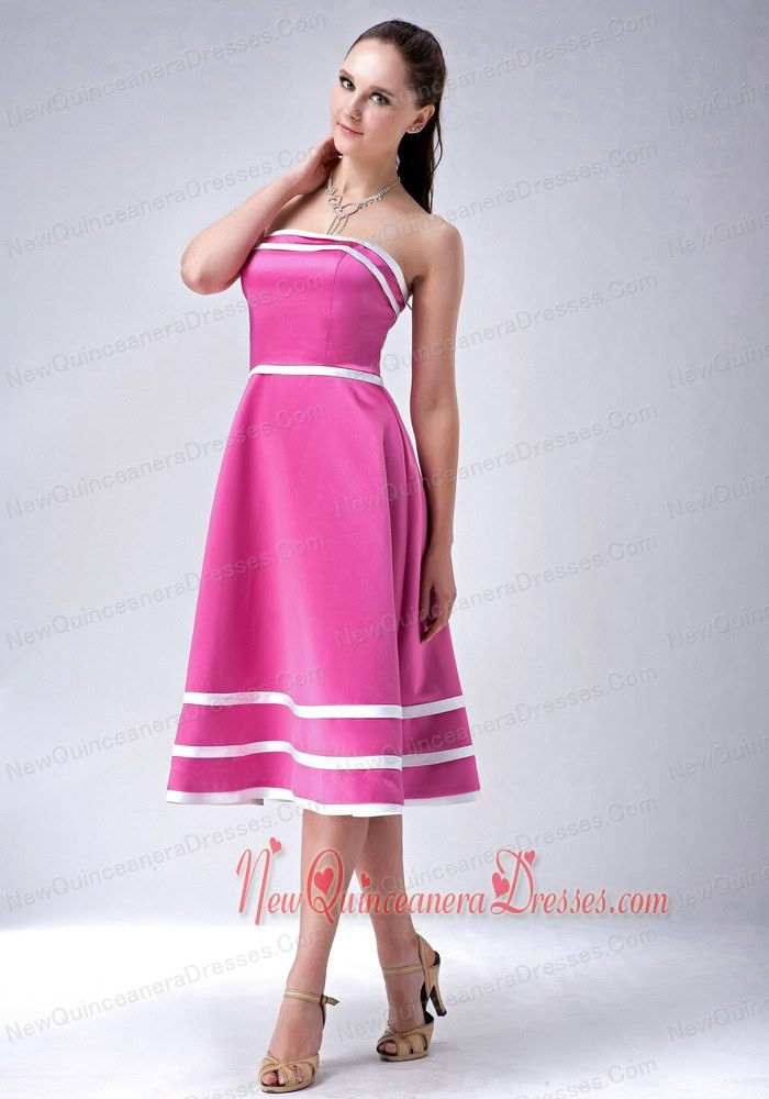 Rose Pink and White A-line / Princess StraplessTea-length Satin Dama Dress