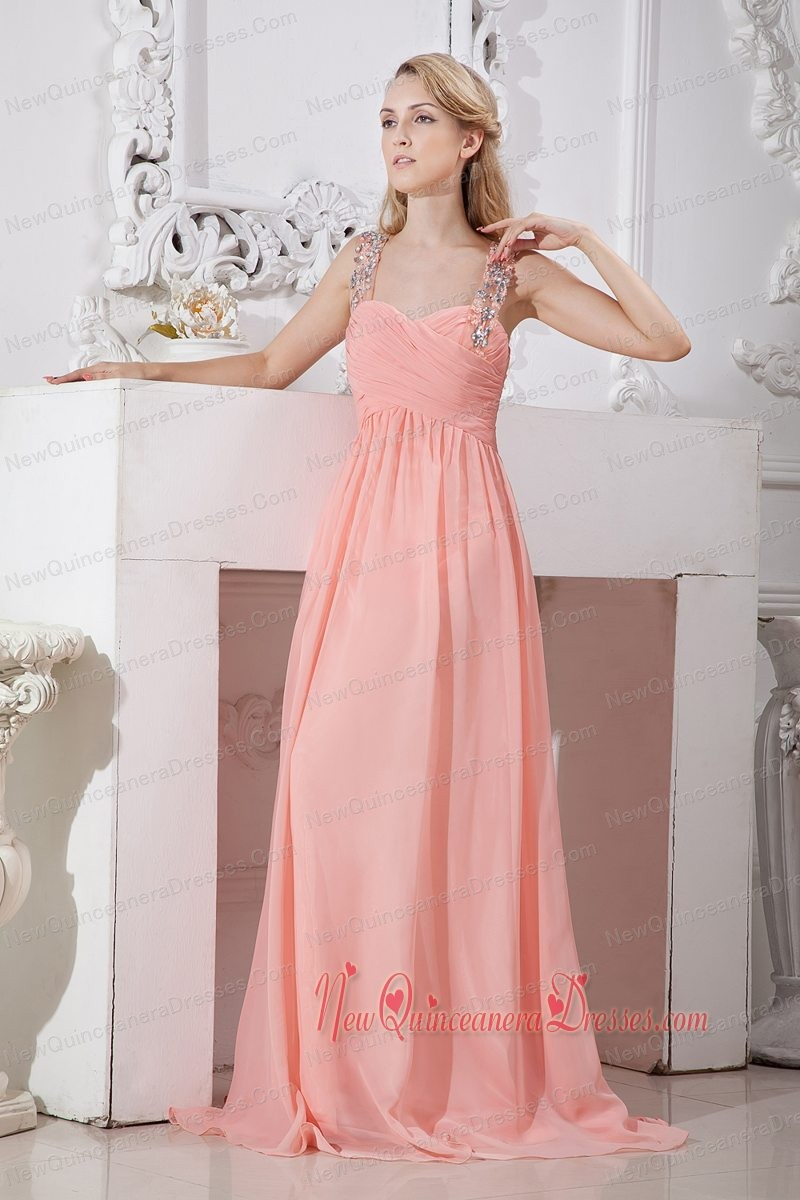 802bc1fdb52 Watermelon Red Empire Straps Brush Train Beading Dama Dresses for  Quinceanera. triumph