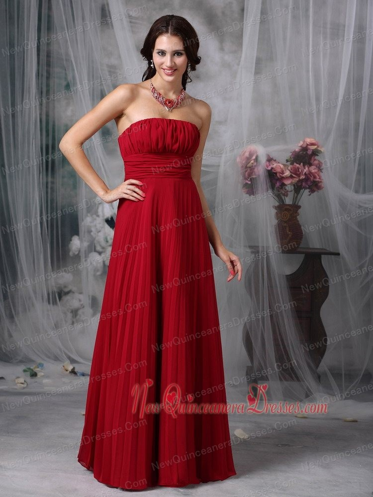 Wine Red Empire Strapless Floor-length Chiffon Ruch Quinceanera Dama Dresses