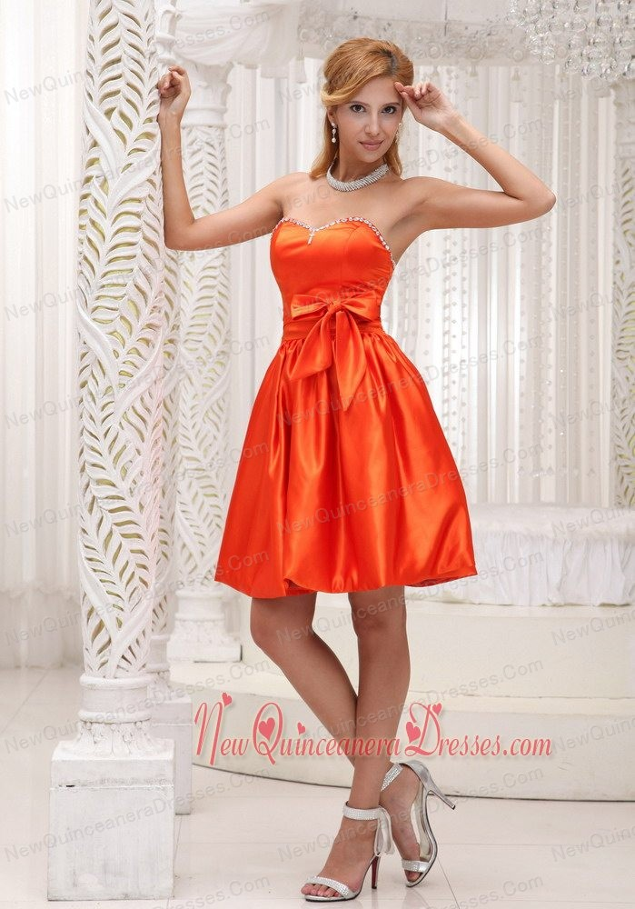 Lovely Orange Red Dama Dresses for Quinceanera For 2013 Bowknot Taffeta Beaded Decorate Bust