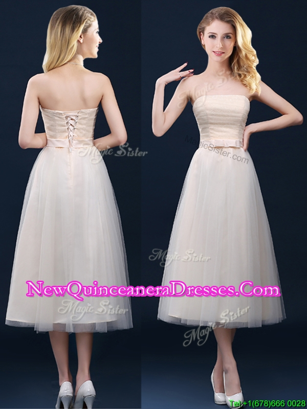 2016 Low Price Strapless Belt Champagne Long Dama Dress in Tulle