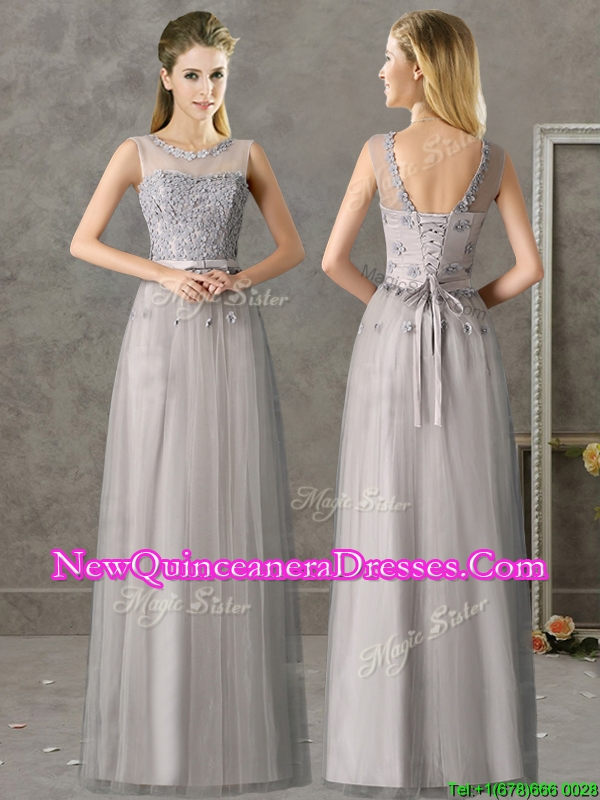 Cheap See Through Scoop Grey Long Damas Dress with Appliques