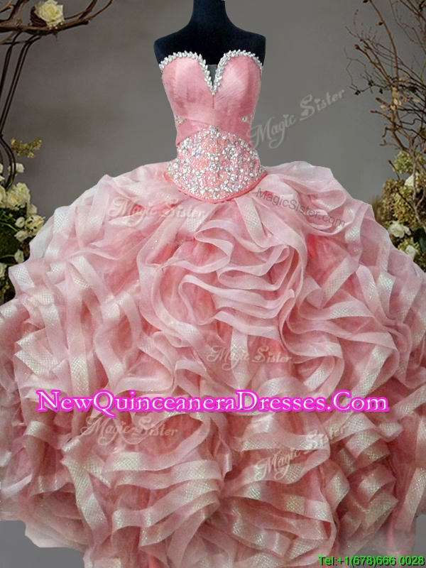 Low Price Beaded and Ruffled Sweet 16 Dress in Pink