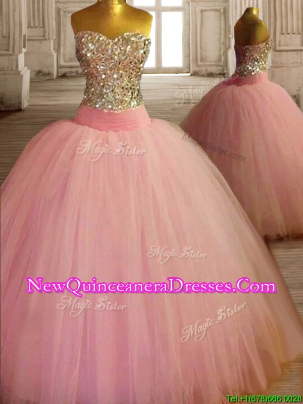 New Style Beaded Bodice Baby Pink Sweet 16 Dress in Tulle