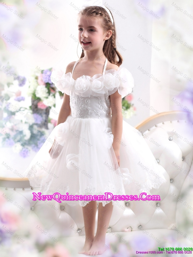 2016 Comfortable White Halter Top Flower Girl Dress with Hand Made ...