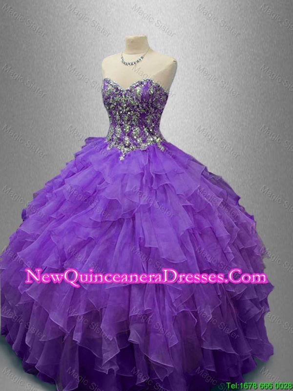 Custom Made Purple Sweet 16 Gowns with Beading and Ruffles
