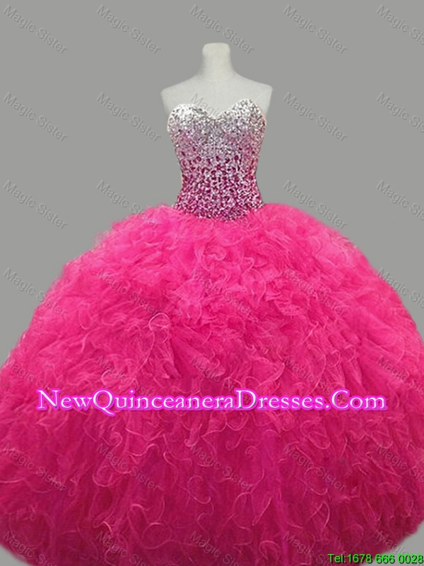 Custom Made Sweetheart Hot Pink Quinceanera Dresses with Beading and Ruffles