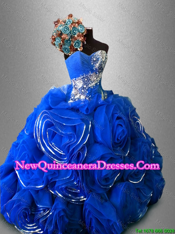Custom Made Rolling Flowers Sweet 16 Dresses with Beading
