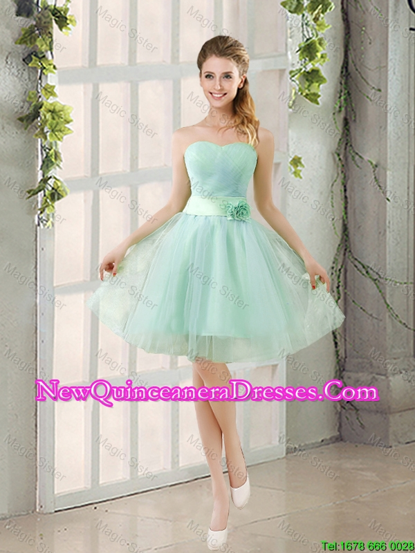 2015 Summer A Line Strapless Ruching Damas Dresses in Tulle