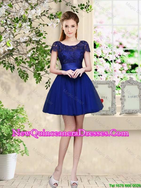 Sturning Bateau Short Royal Blue Damas Dresses with Cap Sleeves