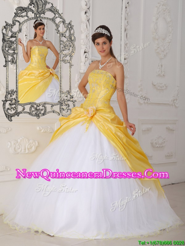 2016 Modest Hand Made Flower Pretty Sweet 15 Dressesin Yellow and White