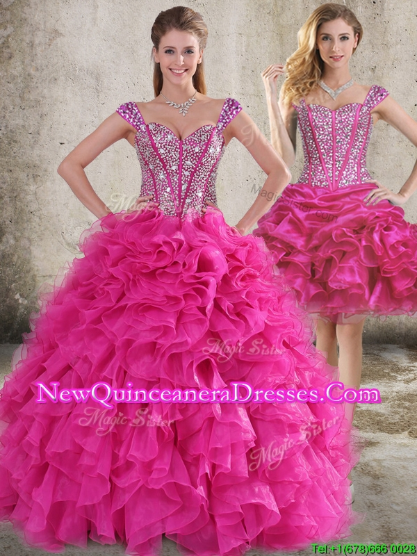 Classical Ruffled and Beaded Bodice Detachable Quinceanera Skirt in Hot Pink