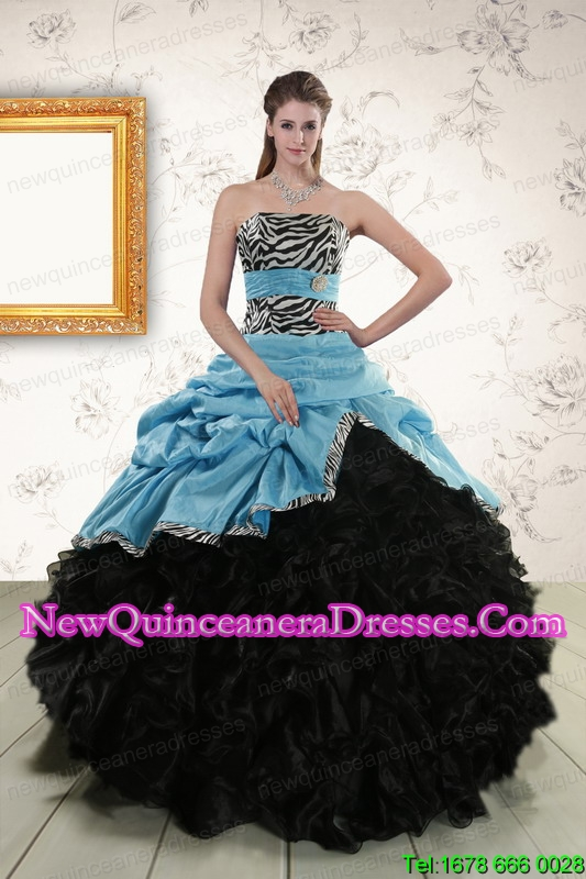 Top Seller Ruffles 2015 Quinceanera Dresses with Zebra and Belt