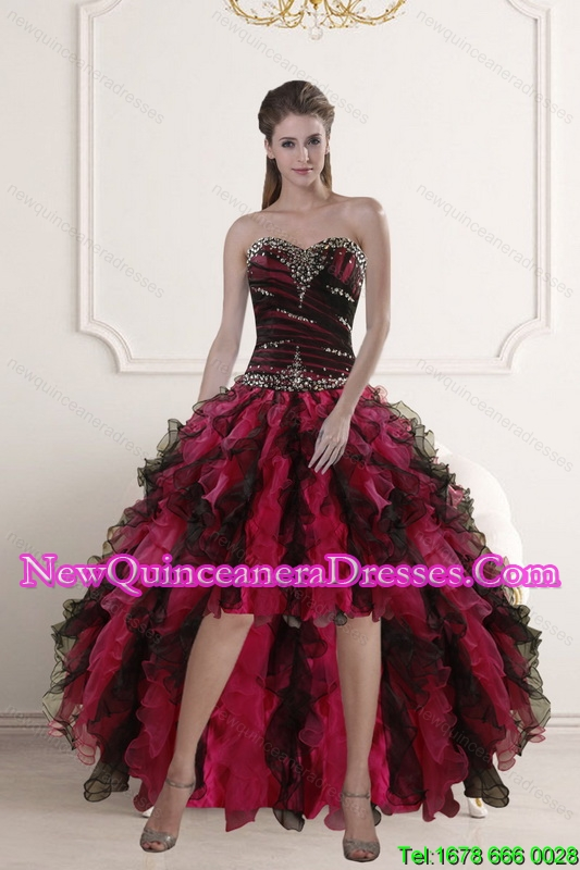 High Low Sweetheart Multi Color Dama Dresses with Ruffles and Beading for 2015