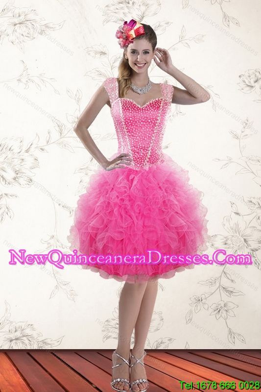 Cheap Hot Pink 2015 Straps Dama Dresses with Beading and Ruffles
