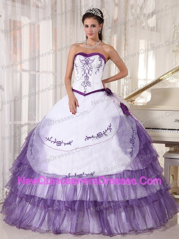 Sweetheart Ruffled Embroidery Quinceanera Dress White and Purple ...