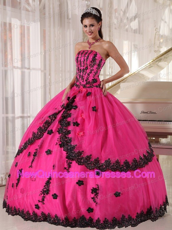Strapless Appliques Quinceanera Gowns Puffy Hot Pink Designers ...
