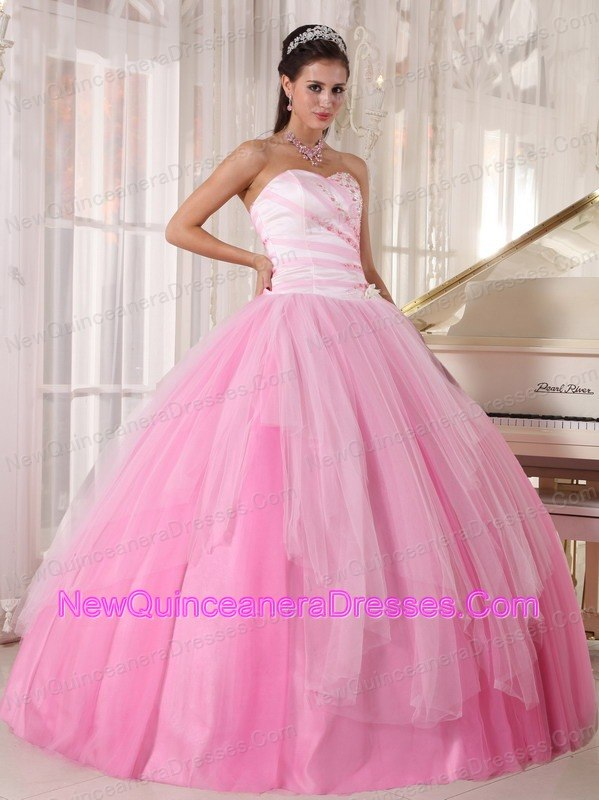Perfect Pink Quinceanera Dress Sweetheart Tulle Beading Ball Gown