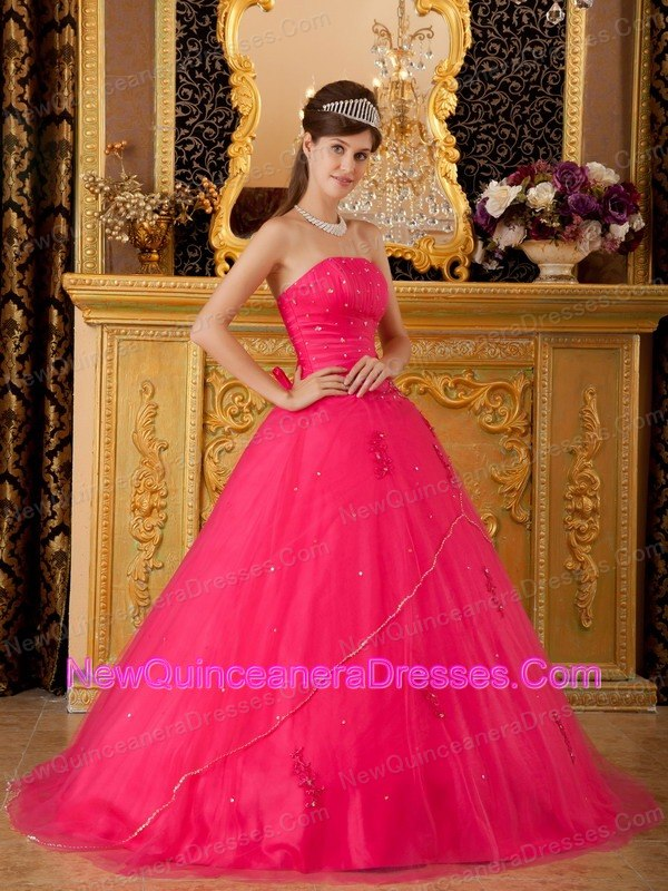 Strapless Tulle Hot Pink A-line Sweet 16 Beading - $159.34