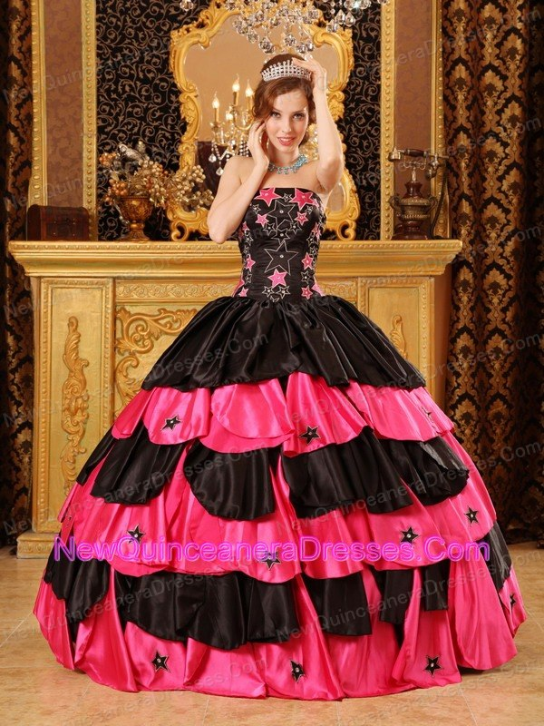 Black and Hot Pink Ruffles Quinceanera 2013 Dress With Beading ...