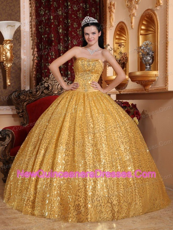 Sequined Quinceanera Dresses, Cheap Sequined Fabric Quince Ball Gowns