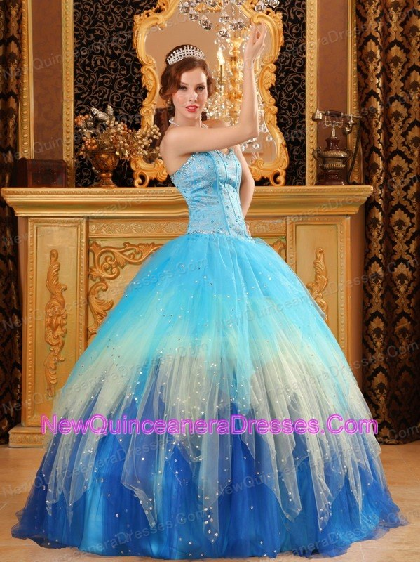 Tulle Quinceanera Dresses, Cheap Tulle Fabric Quince Ball Gowns
