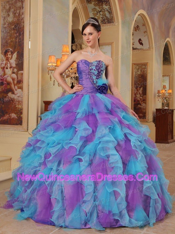 Most Popular Purple and Aqua Blue Quinceanera Dres with  Organza Ruffles