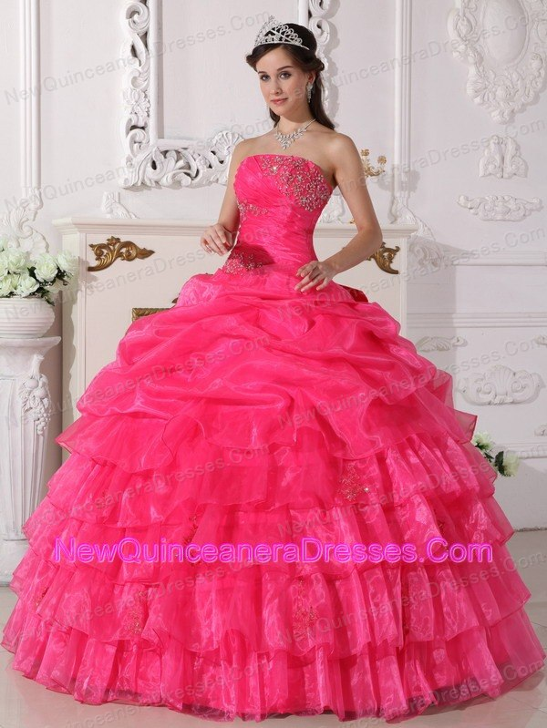 Hot Pink Appliques Layered Ruffles Strapless Quinceanera Gown ...