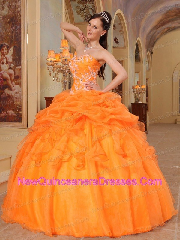 Pick Ups Sweetheart Light Orange Quinceanera Dress Appliques - $206.28