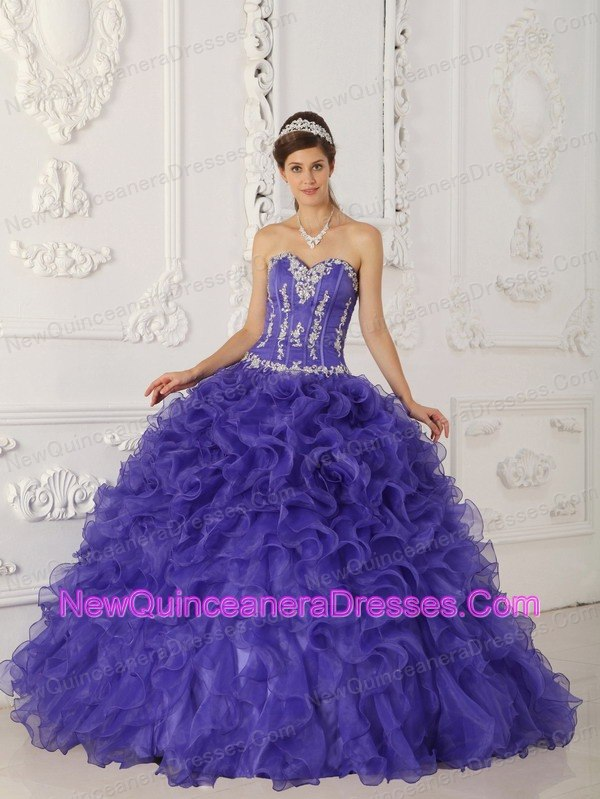 Clearance Satin And Organza Appliques Sweetheart Purple ...